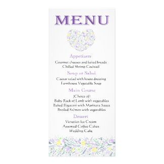 Purple  Menu Lavender Yellow Flowers - Wedding