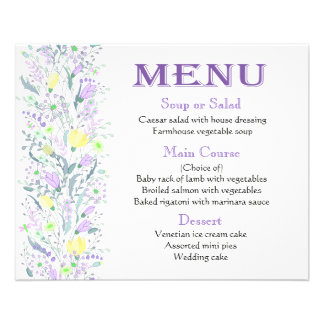 Purple  Menu Lavender Yellow Flowers - Wedding