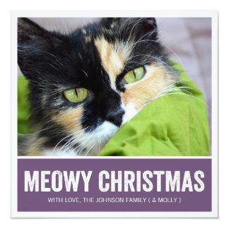 Purple Meowy Christmas - Pet Photo Holiday Cards Invites