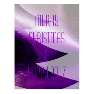 Purple Merry Christmas Happy New Year 2017 Postcard