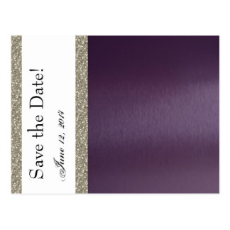 Purple Metallic and Silver Save the Date Postcard