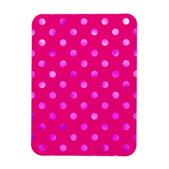 Purple Metallic Faux Foil Polka Dot Background Rectangular Photo Magnet