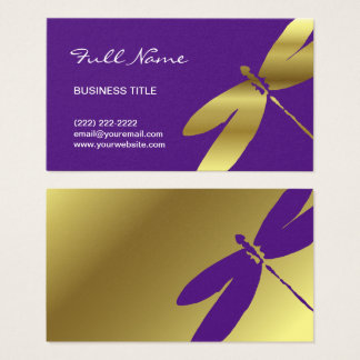 Purple & Metallic Gold Dragonfly Business Cards