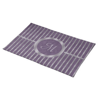Purple Metallic Lavender Stripe Monogram Placemat