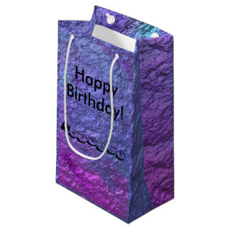 Purple Metallic Personalise Text Small Gift Bag