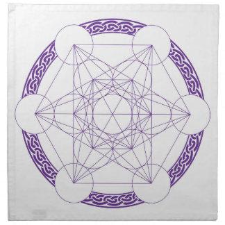 Purple Metatrons Cube Crystal Grid Napkin