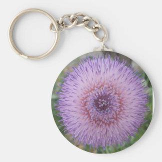 Purple Milk Thistle Basic Round Button Key Ring