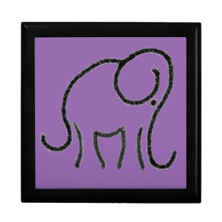 Purple Minimalistic Elephant Chalk Drawing Large Square Gift Box