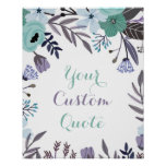 Purple mint floral Personalised quote art print