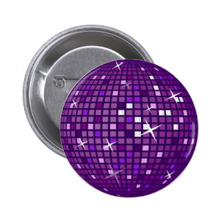 PURPLE MIRROR DISCO BALL 6 CM ROUND BADGE