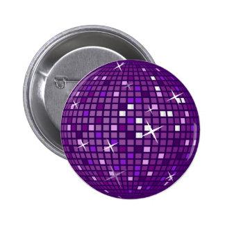 PURPLE MIRROR DISCO BALL 6 CM ROUND BADGE