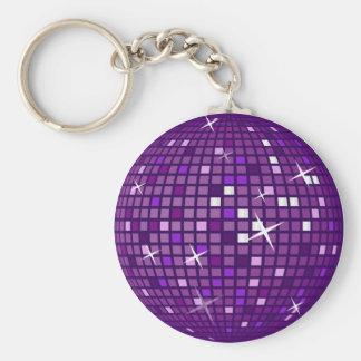 PURPLE MIRROR DISCO BALL BASIC ROUND BUTTON KEY RING