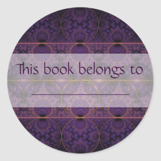 Purple Mobius Dragon Fractal Art Round Sticker