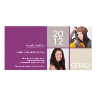 Purple modern block class of grad announcement card
