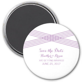 Purple Modern Deco Save the Date Magnet 3 Inch Round Magnet
