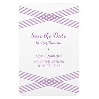 Purple Modern Deco Save the Date Magnet Rectangular Photo Magnet