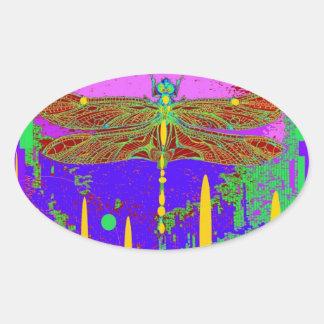 Purple Modern Dragonfly Design by Sharles Oval Sticker