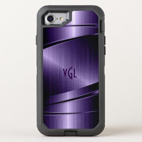 Purple Modern Metallic Texture Geometric Design OtterBox Defender iPhone 7 Case