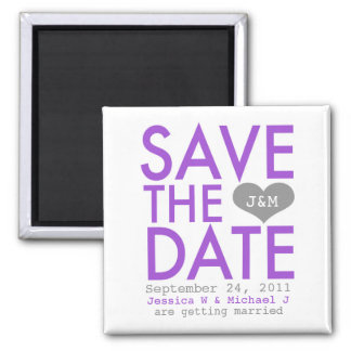 Purple Modern Save the Date Square Magnet