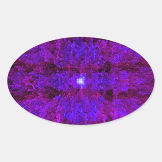 Purple Modern Textured Pattern Design Oval Sticker