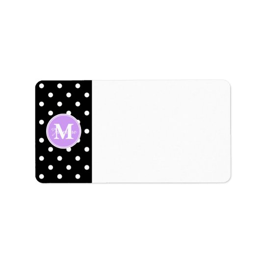Purple Monogram Black White Polka Dots Address Label