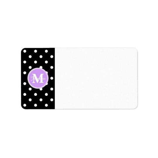 Purple Monogram Black White Polka Dots Label