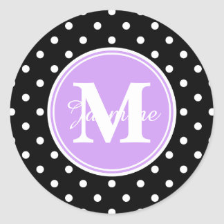 Purple Monogram Black White Polka Dots Stickers