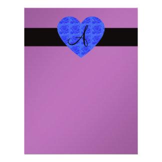 Purple monogram blue roses 21.5 cm x 28 cm flyer