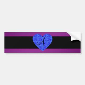 Purple monogram blue roses bumper stickers