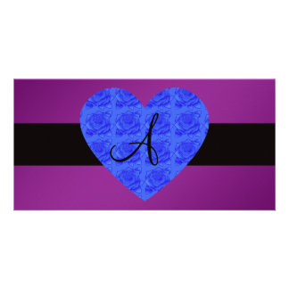 Purple monogram blue roses customized photo card