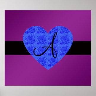 Purple monogram blue roses print