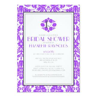 Purple Monogram Damask Bridal Shower Invitations