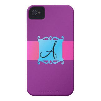 Purple monogram fancy emblem Case-Mate iPhone 4 cases