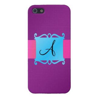 Purple monogram fancy emblem iPhone 5 covers