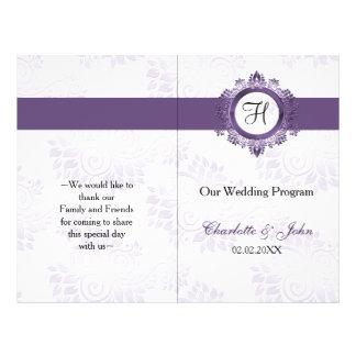 purple monogram folded Wedding program Flyer