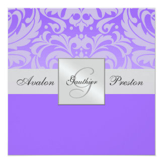 Purple Monogram Half Damask Wedding Invitation