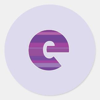 Purple Monogram - Letter E Classic Round Sticker