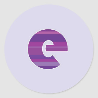 Purple Monogram - Letter E Round Sticker