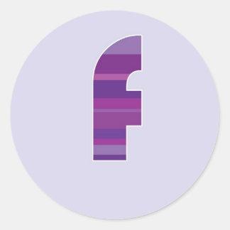 Purple Monogram - Letter F Round Sticker