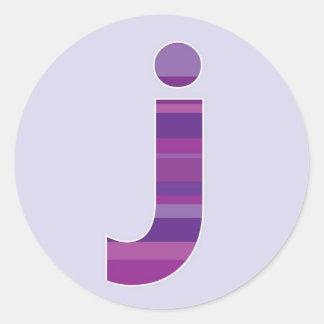 Purple Monogram - Letter J Round Sticker