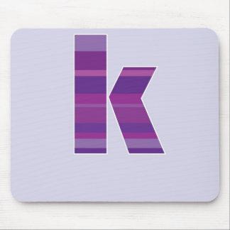 Purple Monogram - Letter K Mouse Pads