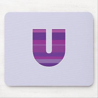 Purple Monogram - Letter U Mouse Mats