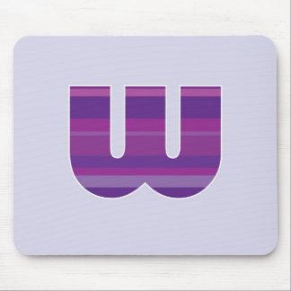 Purple Monogram - Letter W Mouse Pads