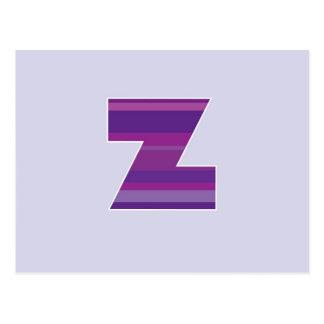 Purple Monogram - Letter Z Postcard