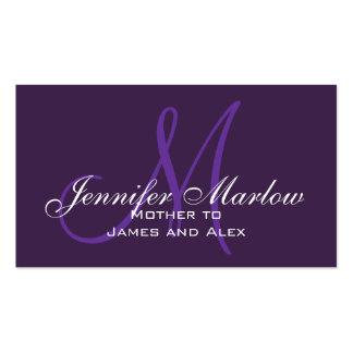 Purple Monogram Mommy Calling Card Pack Of Standard Business Cards
