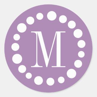 Purple Monogram Stickers - White Polka Dots