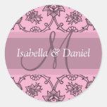 Purple Monogram Wedding Favour Labels Stickers