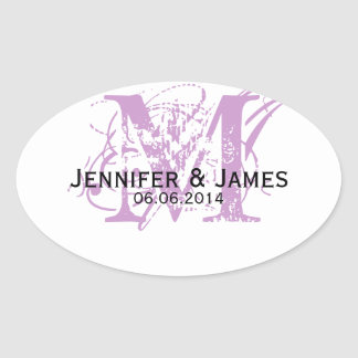 Purple Monogram Wedding Favour Stickers Oval