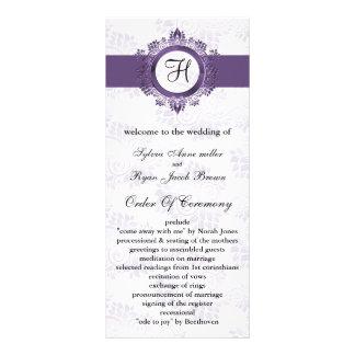 purple monogram Wedding program Rack Card