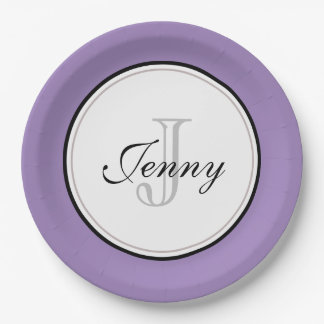 Purple Monogrammed Paper Plate